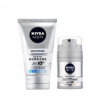 妮维雅(NIVEA)男士焕白亮肤两件套(亮肤洁面乳100g+防晒亮肤露50g)