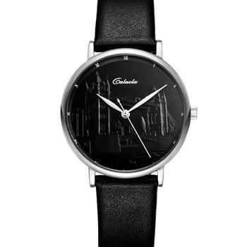 卡罗莱女士浮雕皮带石英黑面腕表