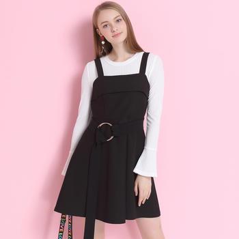 昕薇2019春吊带连衣裙女韩版显瘦黑色a字背带裙
