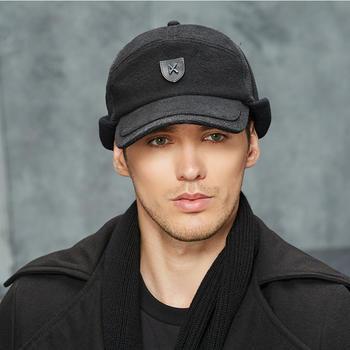 卡蒙棒球帽纯黑色毛呢帽男士棉帽