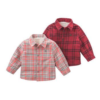 davebella男童秋冬季格子加厚衬衫