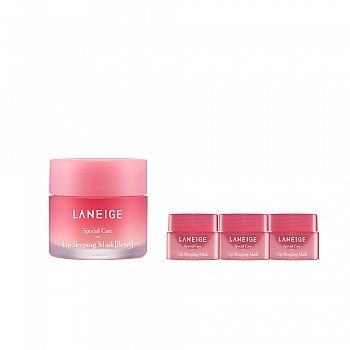 韩国•兰芝(LANEIGE)夜间保湿修护唇膜 甜莓4件套组