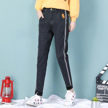 缔诗皮标加绒牛仔哈伦裤(两色)