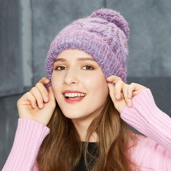 卡蒙毛线帽子女加厚手工针织帽