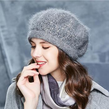卡蒙兔毛帽子女韩版圆顶针织帽