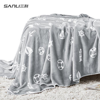三利法兰绒毛毯 单双人印花盖毯