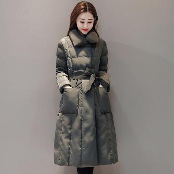 紫檀暗扣系带保暖中长款加厚棉衣