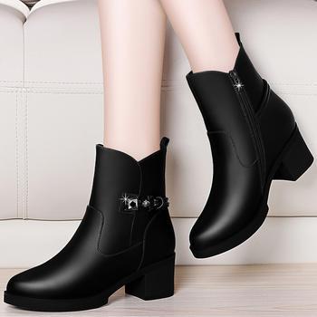 粗跟女靴防水台高跟英伦风马丁靴