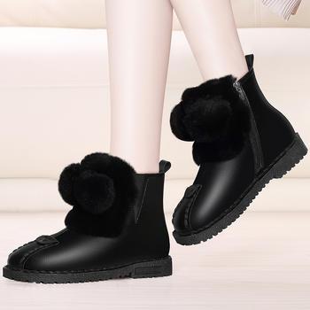 平底内增高雪地靴女兔毛棉靴短筒