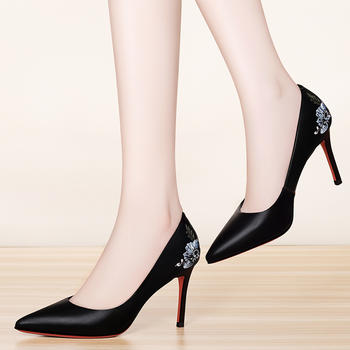 高跟鞋细跟百搭小码尖头高跟女鞋