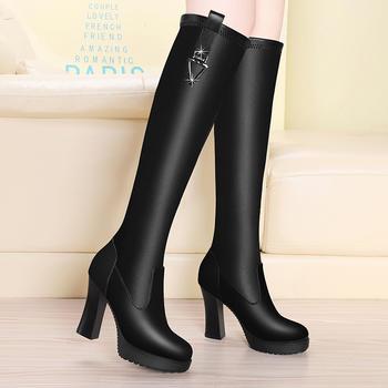 高筒靴女显瘦百搭靴子高跟女靴子