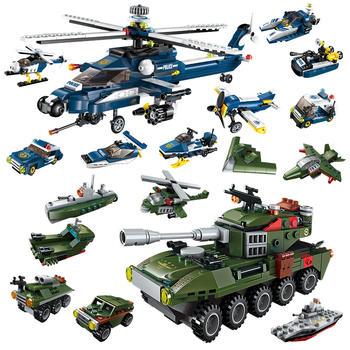启蒙军事系列直升机/穿甲坦克儿童拼插积木玩具