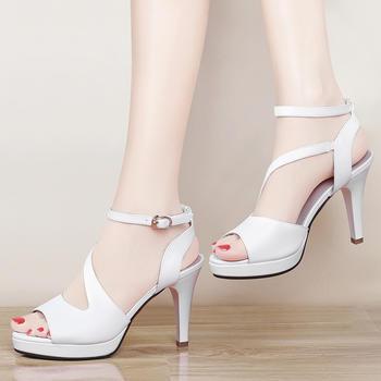韩版高跟细跟鱼嘴防水台百搭凉鞋