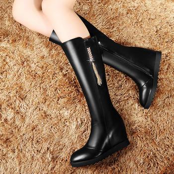平底中筒靴女圆头内增高坡跟女靴
