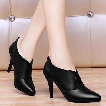 高跟鞋时尚尖头细跟深口软皮皮鞋