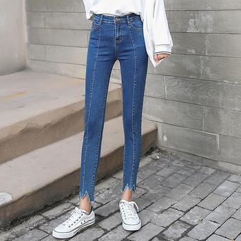 衣织优美 裤脚缺口牛仔裤