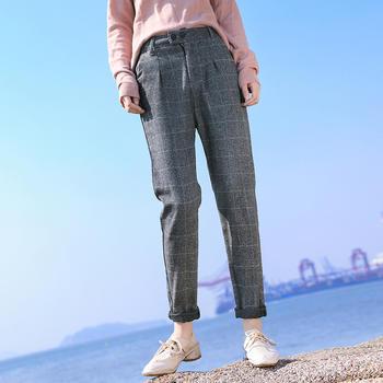 缔诗格子裤?#29992;?#21602;哈伦裤(两色)