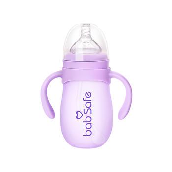 安儿欣宽口硅胶防护玻璃吸管奶瓶