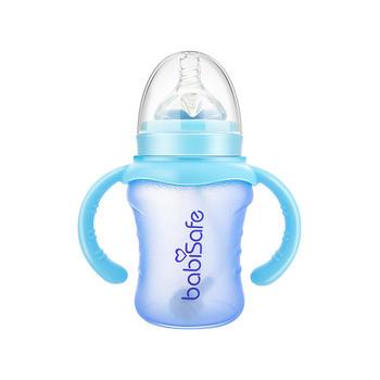 安儿欣 宽口硅胶涂层玻璃奶瓶180ml