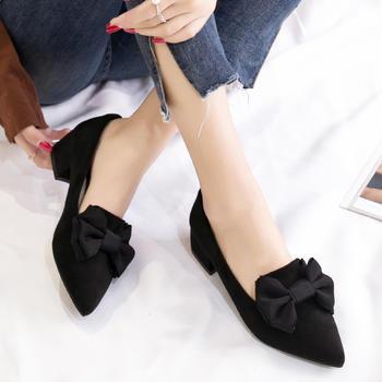ZHR-新款蝴蝶结粗跟百搭浅口单鞋