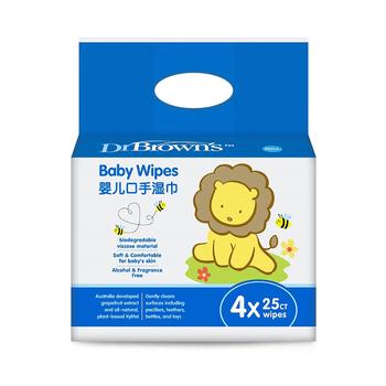 美国•布朗博士婴儿口手湿巾(抗菌无香型)经济装 25片*4包装
