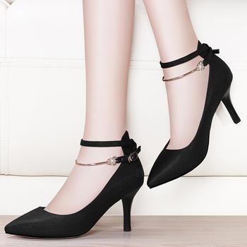 镂空高跟鞋绑带单鞋一字扣女鞋子