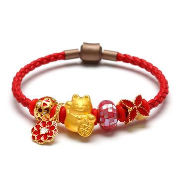 阿梵尼 中国红招财猫黄金手链