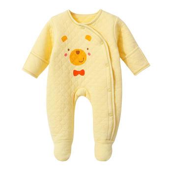 巧尼熊宝宝保暖连体哈衣包脚爬服