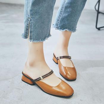 ZHR-方头粗跟复古玛丽珍鞋凉鞋