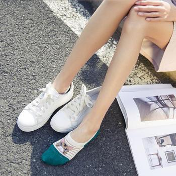 赛棉时尚猫隐形防滑女船袜 5双装