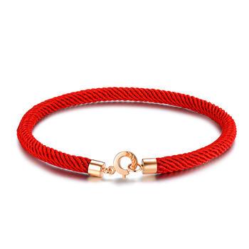 阿梵尼 18K金玫瑰金红绳手链男女
