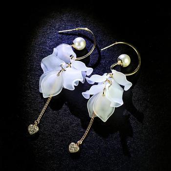 戴拉  925银针气质长款白莲花耳环时尚个性装饰耳饰