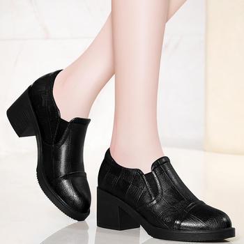 早春鞋休闲单鞋中跟子高跟鞋粗跟