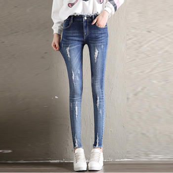 衣织优美 破洞显瘦九分牛仔裤
