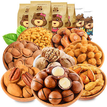 憨豆熊坚果炒货零食组合1014g共6包