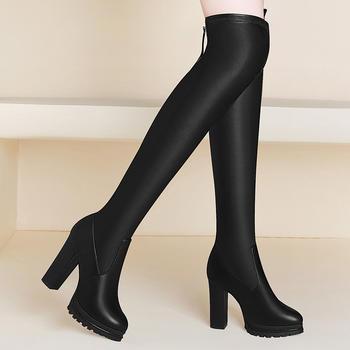过膝长靴弹力长筒皮靴粗跟高筒靴