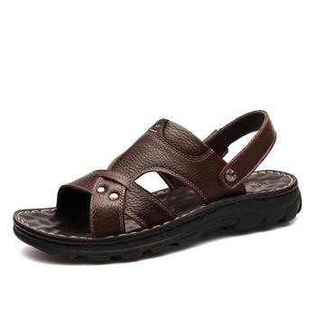承发加厚头层牛皮沙滩鞋10321