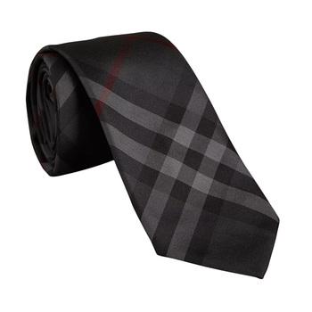 巴宝莉男士木炭灰色丝绸领带