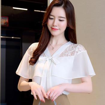 衣织优美 时尚雪纺蕾丝小衫