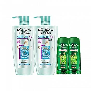 欧莱雅(L'Oreal)透明质酸组合装(透明质酸洗发露500mlx2+茶树润发乳200mlx2赠)