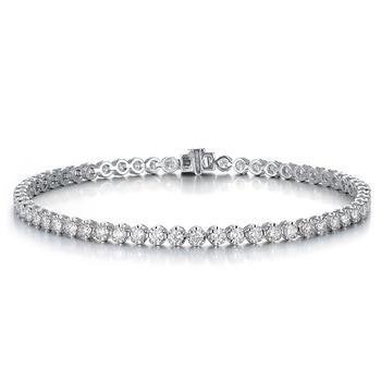 今上珠宝白18K金钻石排钻手链