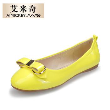 艾米奇时尚漆皮蝴蝶结浅口单鞋