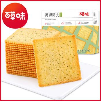 百草味 薄脆饼干308g 休闲海苔饼干
