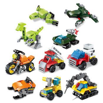启蒙积木锋速战队十合一礼盒装儿童拼插积木玩具
