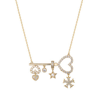 Crocus時尚穿搭愛之鎖微鑲女士百搭短款頸鏈項鏈61545