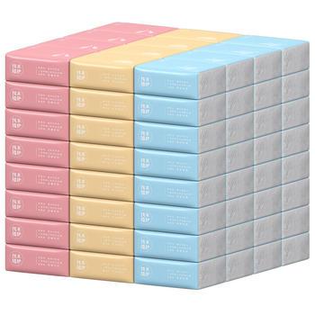 植护三色抽纸原木纸巾30包整箱装