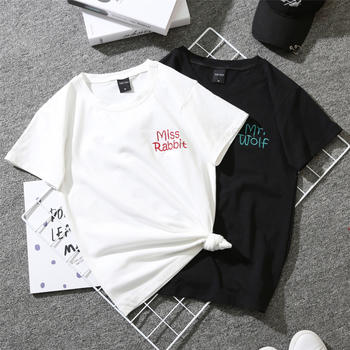红运格格短袖港风潮字母刺绣T恤