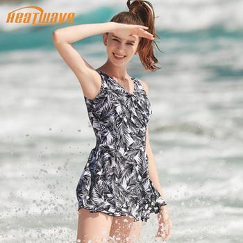 热浪性感时尚印花裙式连体游泳衣