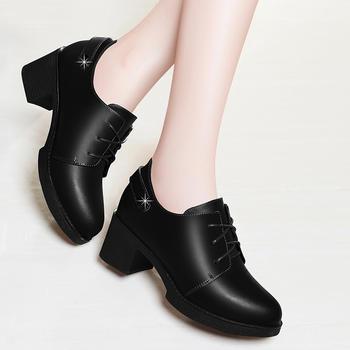新款圆头单鞋女粗跟春季中跟女鞋