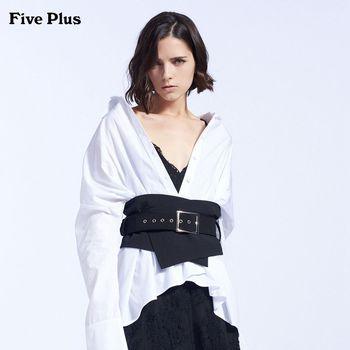 FivePlus2018新款女秋装长袖衬衫女宽松中长款衬衣纯棉纯色翻领
